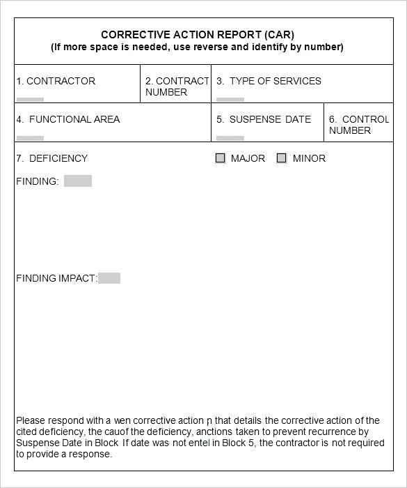 Corrective Action form Template Corrective Action Request Template