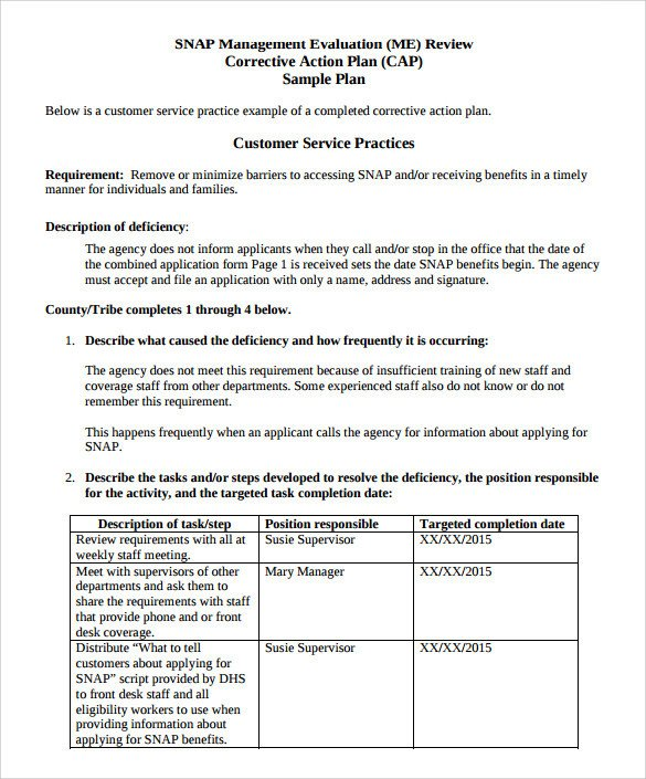 Corrective Action form Template Sample Corrective Action Plan Template 14 Documents In
