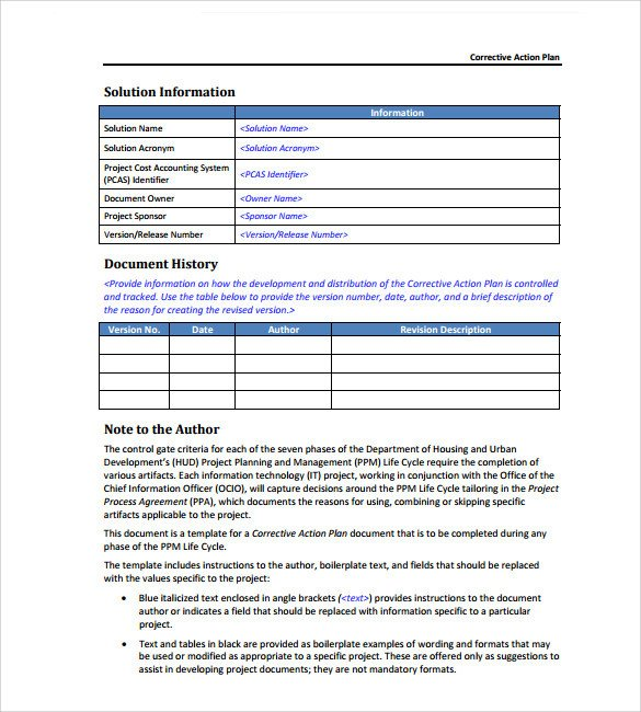 Corrective Action Plan Template Sample Corrective Action Plan Template 14 Documents In