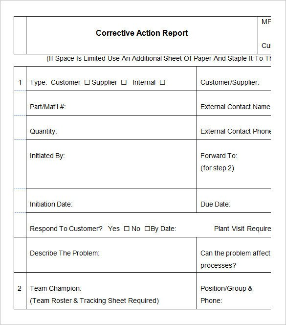 Corrective Action Plan Template Word 9 Corrective Action Report Templates Free Word Pdf
