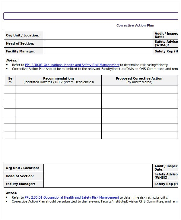 Corrective Action Plan Template Word Action Plan Template 15 Emergency Corrective