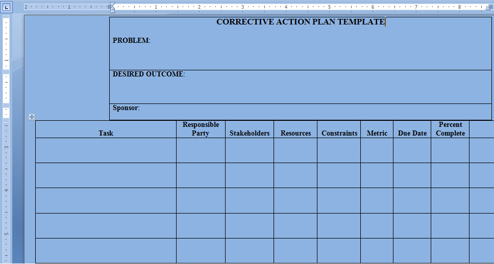 Corrective Action Plan Template Word Corrective Action Plan Template Word Project Management