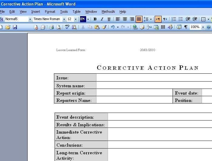 Corrective Action Plan Template Word Free Download Deployment Plan Template Excel