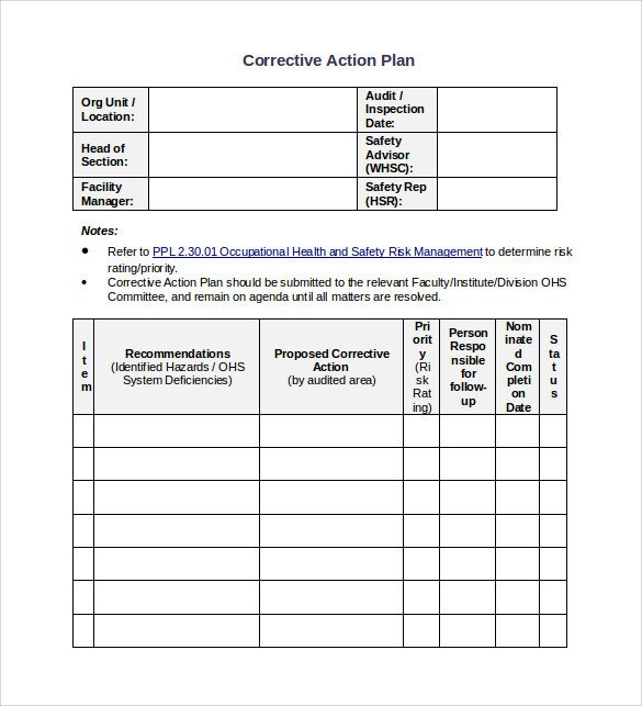 Corrective Action Plan Template Word Sample Corrective Action Plan Template 14 Documents In