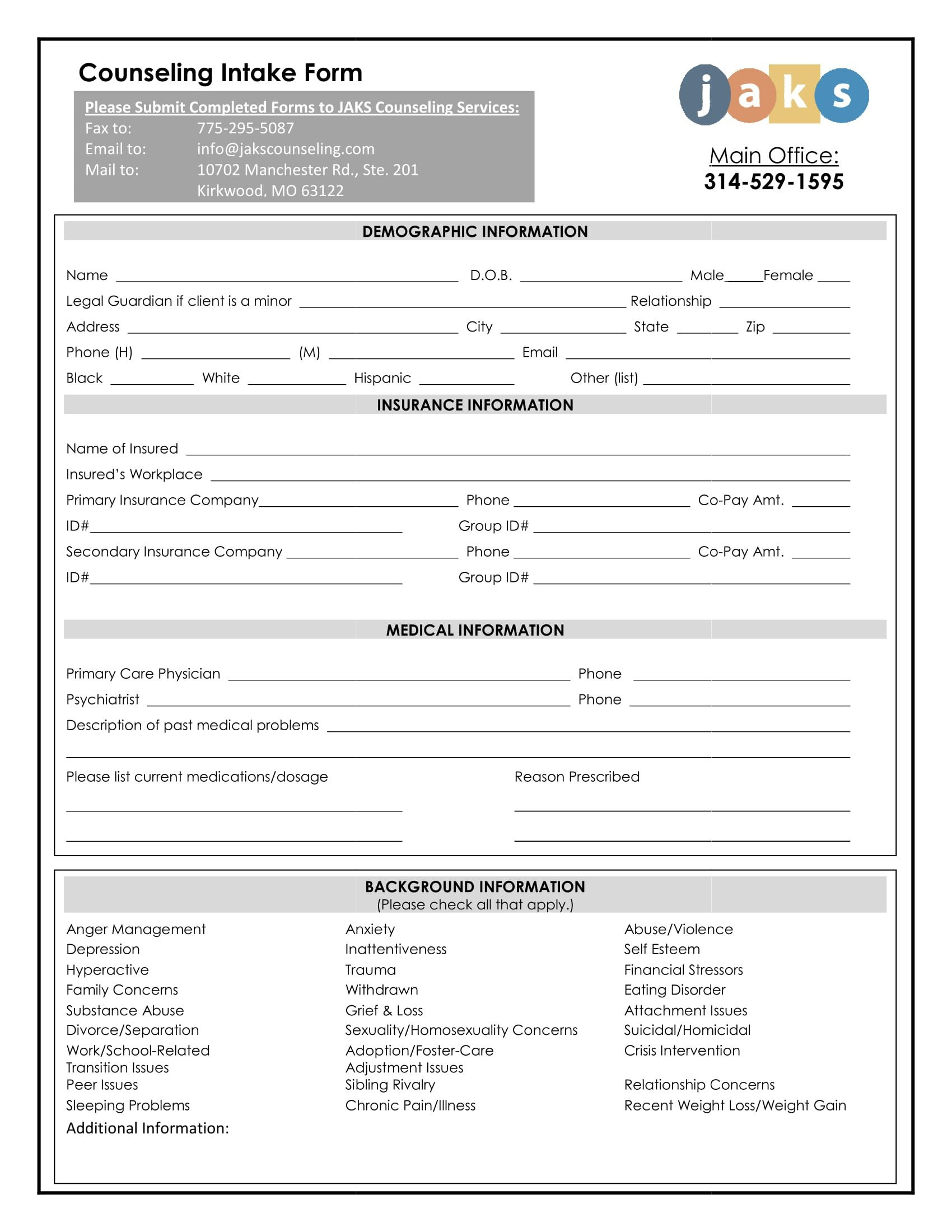 Counseling Intake form Template Benefits Of Using Intake forms for Medication Treatments