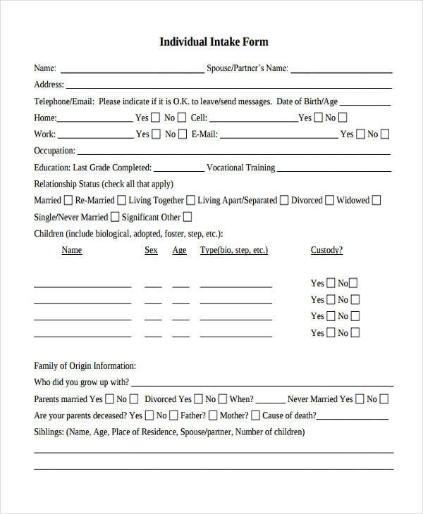 Counseling Intake form Template Intake form Template