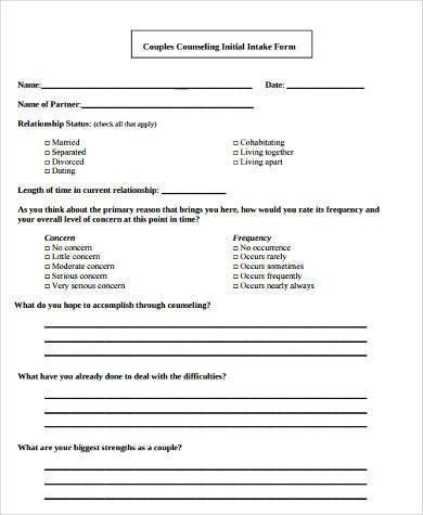 Counseling Intake form Template Sample Counseling Intake forms 9 Free Documents In Word
