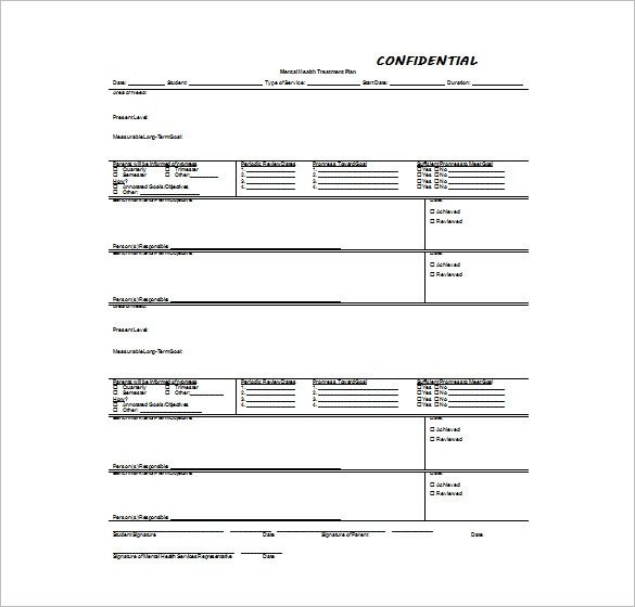 Counseling Treatment Plan Template 15 Treatment Plan Templates Sample Word Google Docs