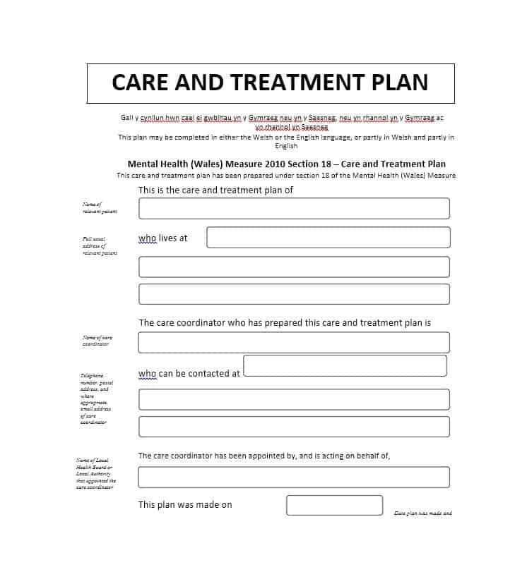 Counseling Treatment Plan Template 35 Treatment Plan Templates Mental Dental Chiropractic