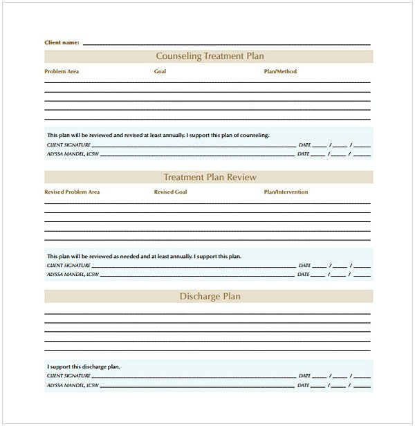 Counseling Treatment Plan Template Pdf Counseling Treatment Plan Template Pdf
