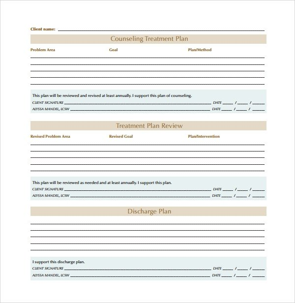 Counseling Treatment Plan Template Sample Treatment Plan Template 9 Free Documents In Pdf