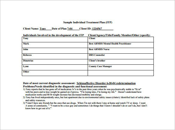 Counseling Treatment Plan Template Treatment Plan Template