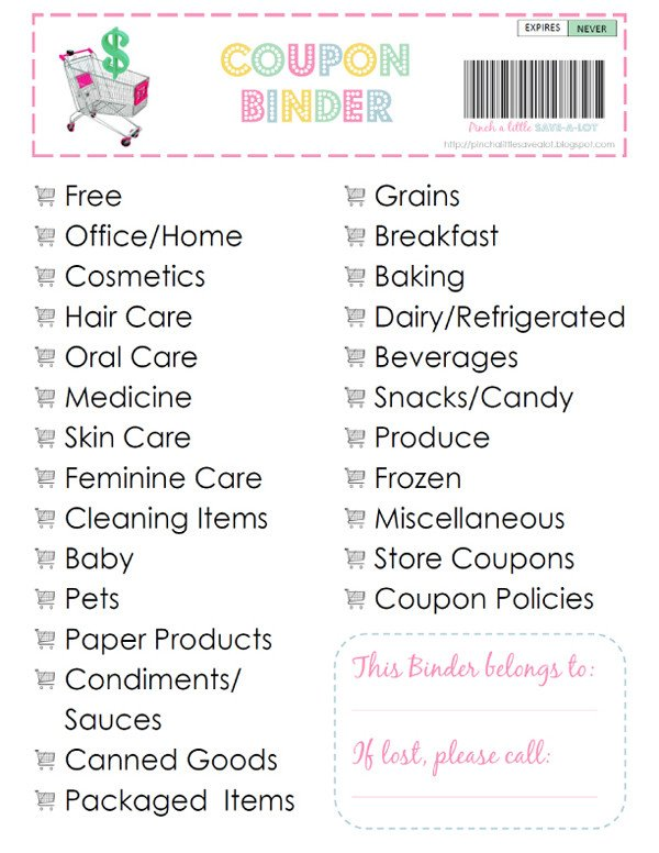 Coupon Binder Categories Template Here