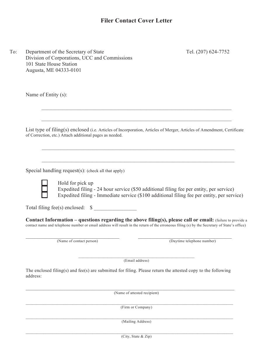Cover Letter for Apostille Example Maine Articles