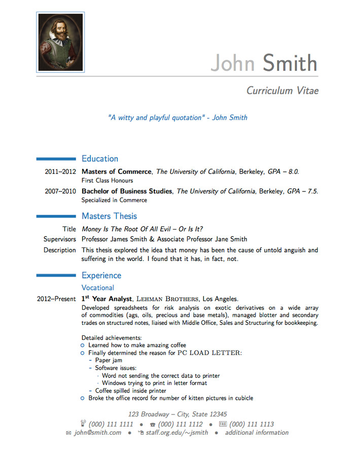 Cover Letter Latex Template Latex Templates Curricula Vitae Résumés