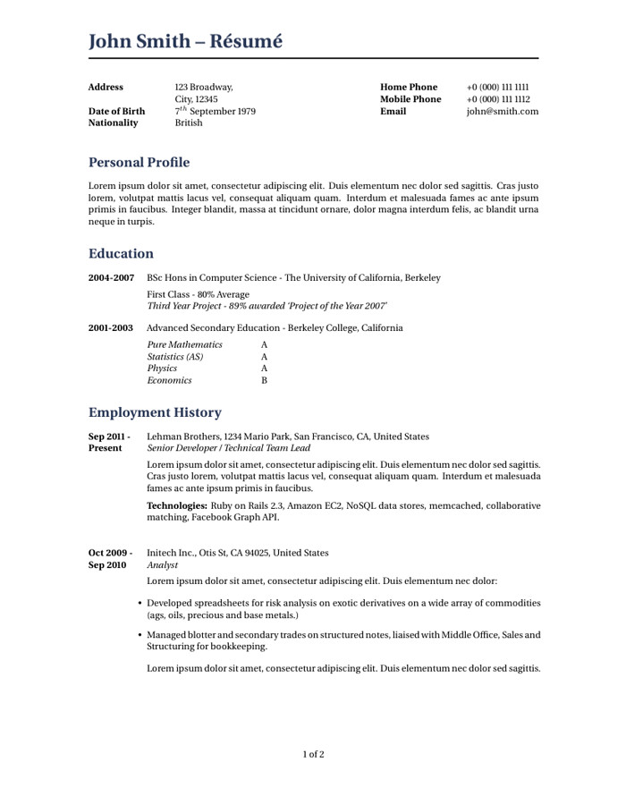 Cover Letter Latex Template Wilson Resume Cv Latex Template