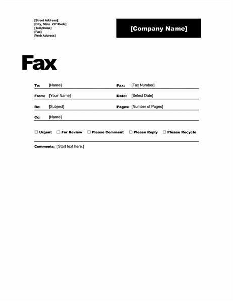 Cover Sheet Template Word Fax Covers Fice