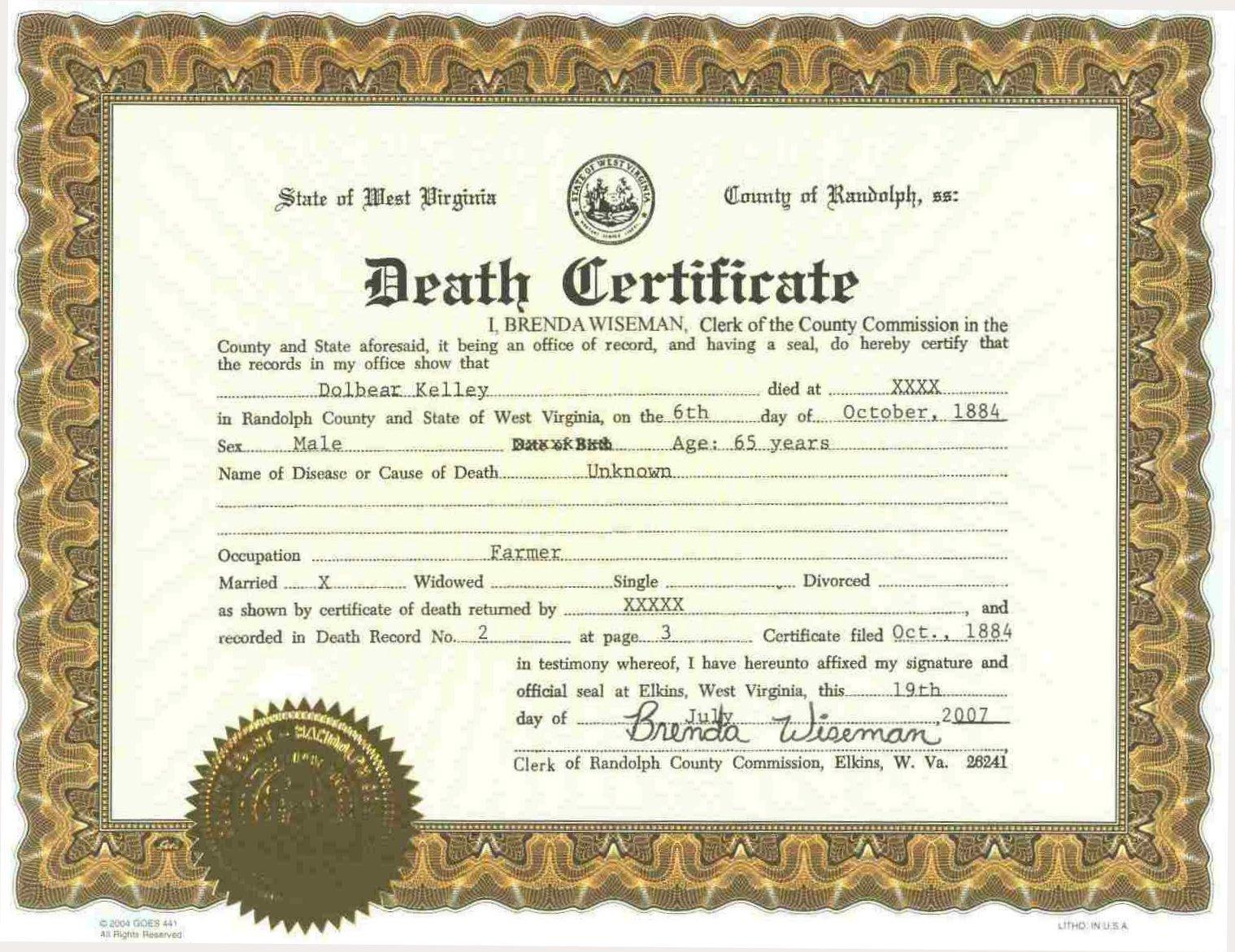Create A Fake Obituary Death Certificate