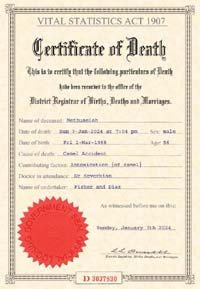 Create A Fake Obituary Sample Fake Death Certificate