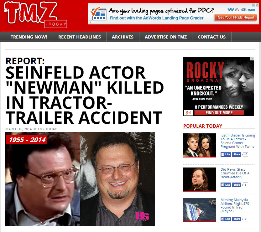 Create A Fake Obituary Wayne Knight Death Hoax Pranksters Create Fake Tmz