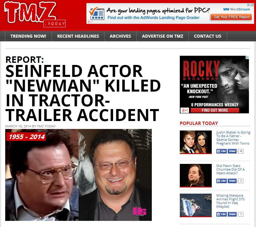 Create A Fake Obituary Wayne Knight Death Hoax Pranksters Create Fake Tmz