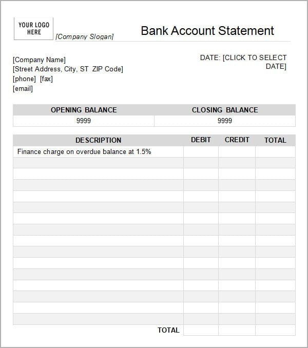 Create Fake Bank Statement Template 7 Bank Statement Templates Word Excel Pdf formats