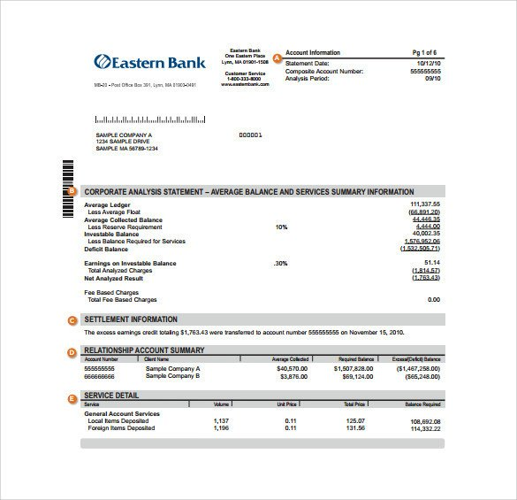Create Fake Bank Statement Template Sample Bank Statement Template 13 Free Documents