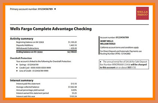 Create Fake Bank Statement Template Wells Fargo Bank Statement Template Free Download Aashe