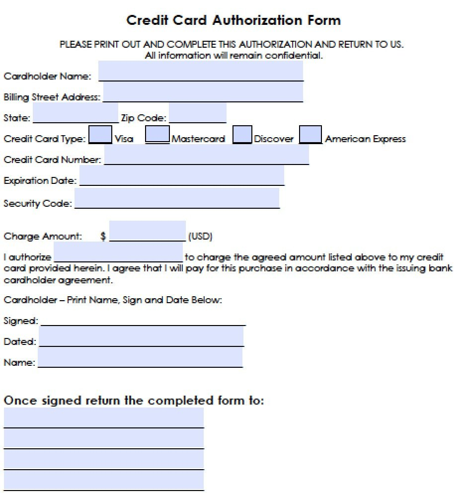 Credit Card Authorization Template Download Generic Credit Card Authorization forms Wikidownload