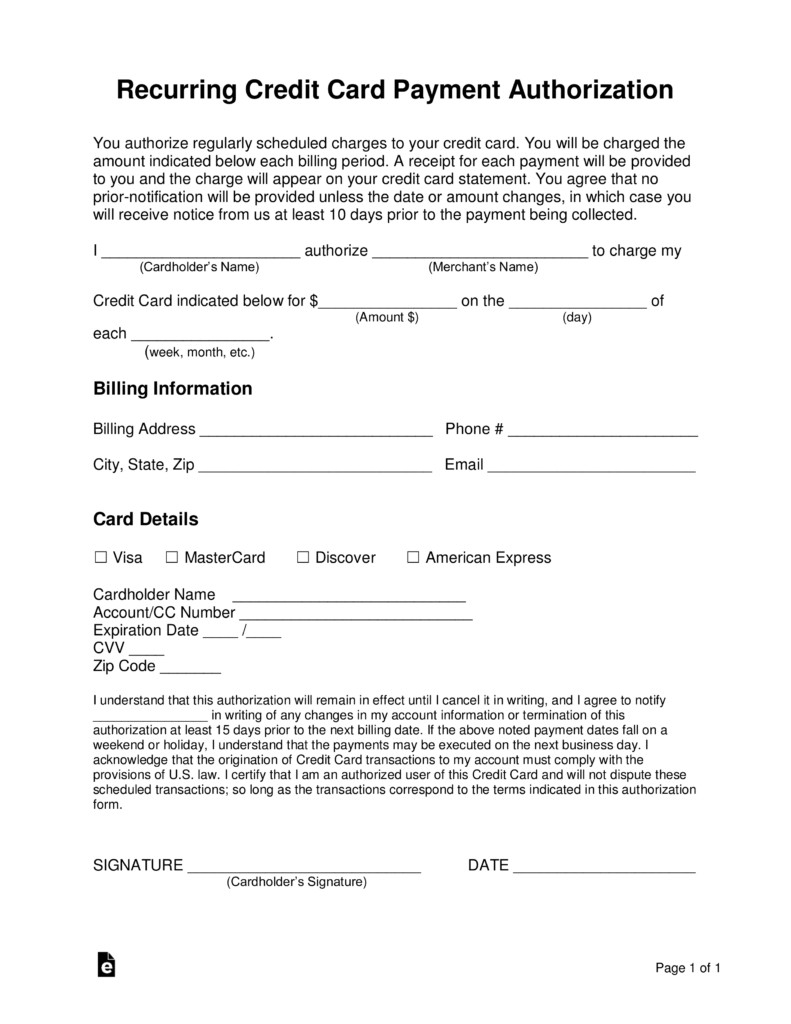Credit Card Authorization Template Free Recurring Credit Card Authorization form Word