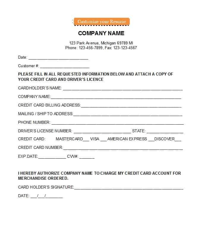 Credit Card form Template 41 Credit Card Authorization forms Templates Ready to Use