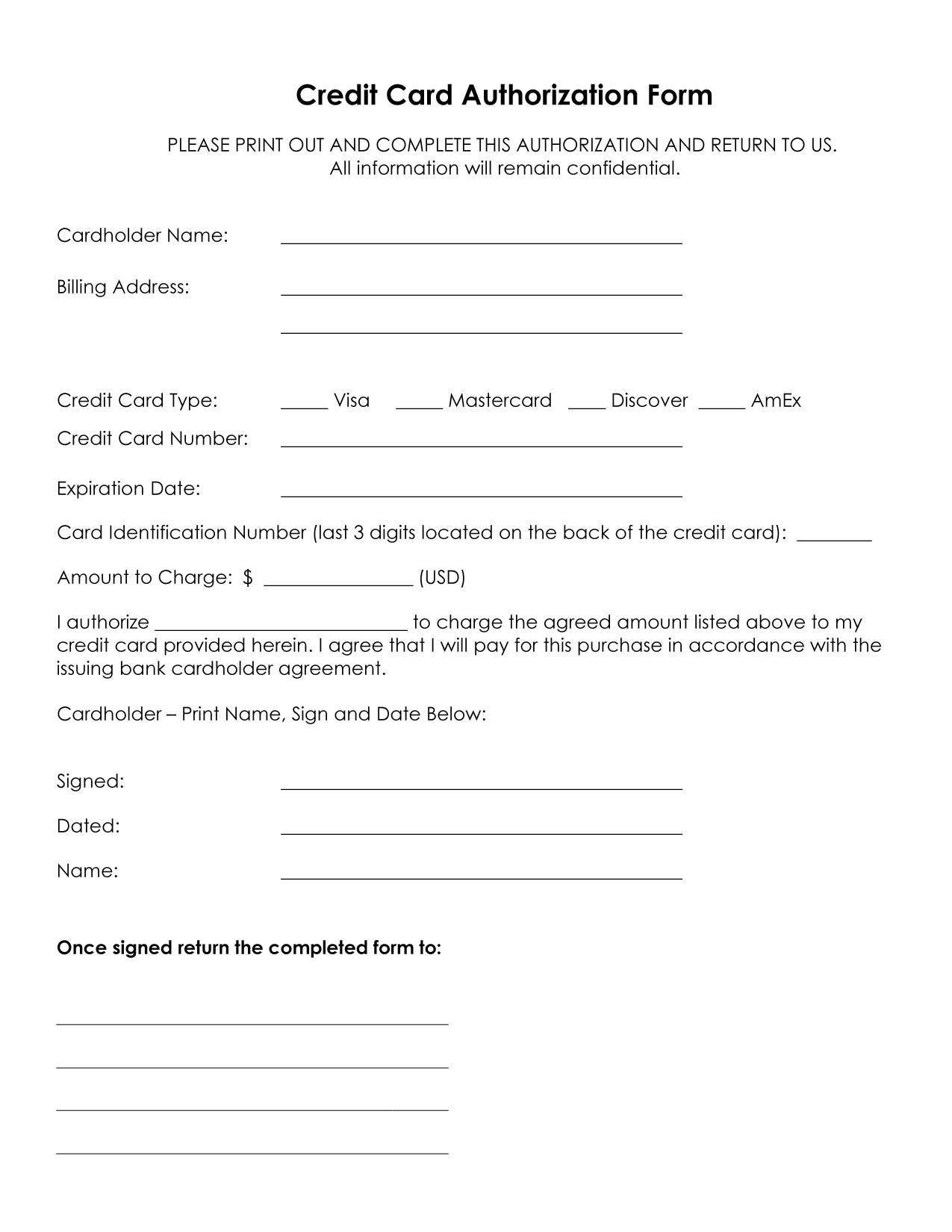 Credit Card form Template Authorization for Credit Card Use Free forms Download