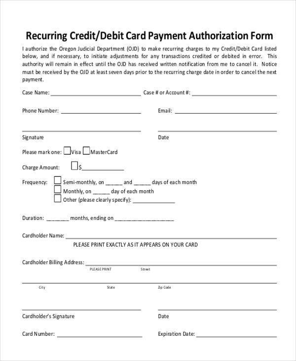 Credit Card form Template Authorization form Templates