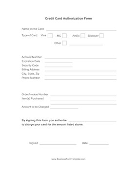 Credit Card form Template Credit Card Authorization form Template