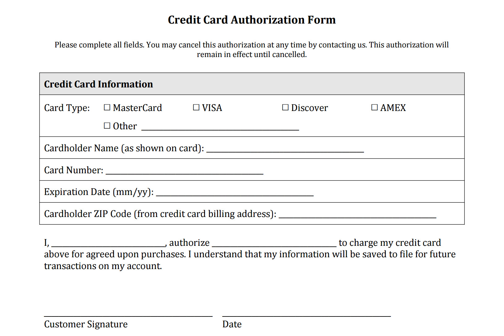 Credit Card form Template Credit Card Authorization form Templates [download]