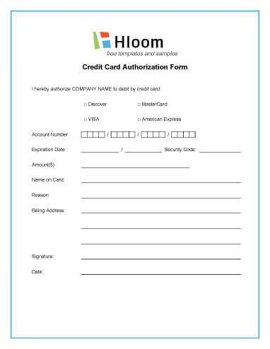 Credit Card form Template Credit Card Authorization forms