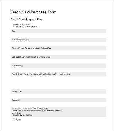 Credit Card form Template Credit Card form Template 9 Free Sample Example