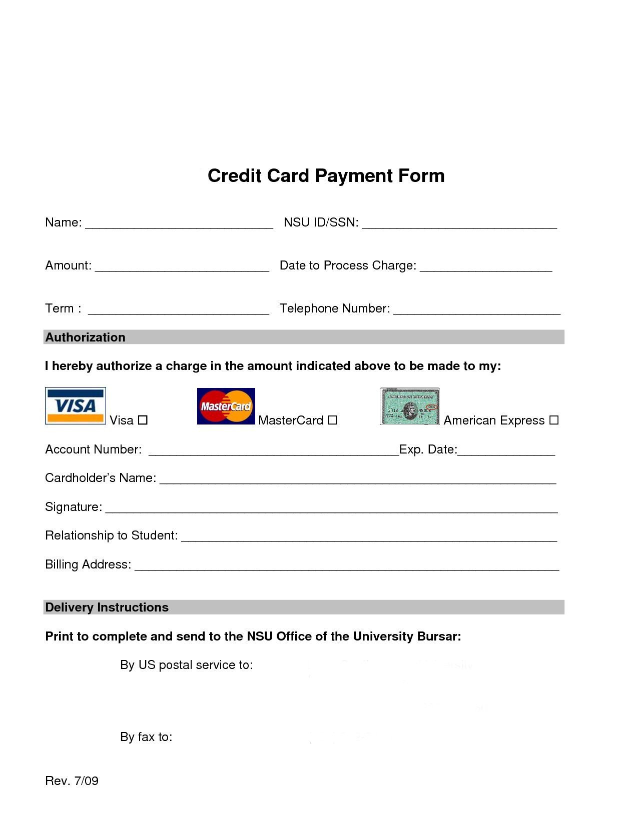 Credit Card form Template Credit Card Processing form Web Design