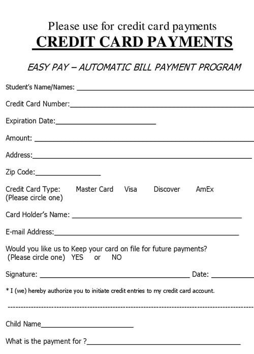 Credit Card Payment form Template 5 Credit Card form Templates formats Examples In Word Excel