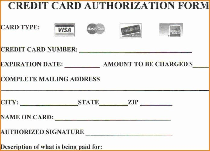 Credit Card Payment form Template Aashe E Stop for Printable