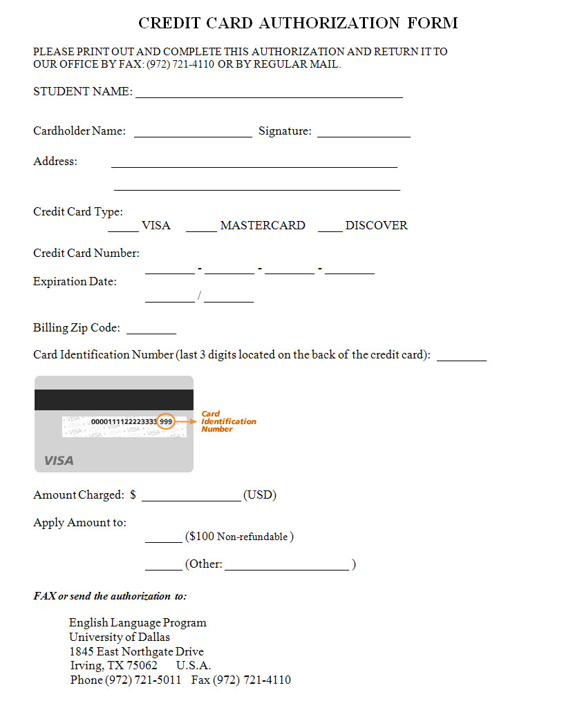 Credit Card Payment form Template Credit Card Authorization form Template