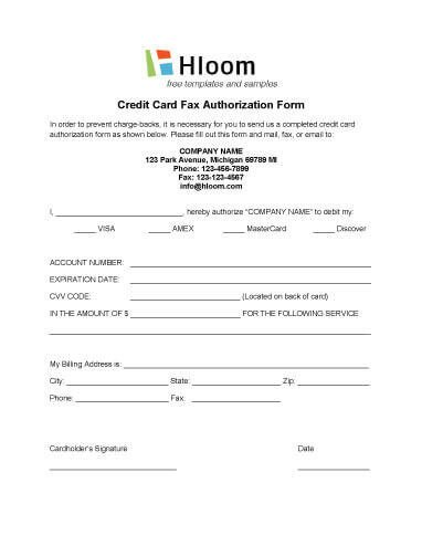 Credit Card Payment form Template Credit Card Authorization forms