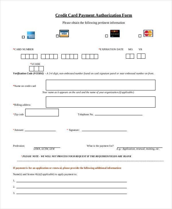 Credit Card Payment form Template Sample Credit Card Authorization form 12 Free Documents
