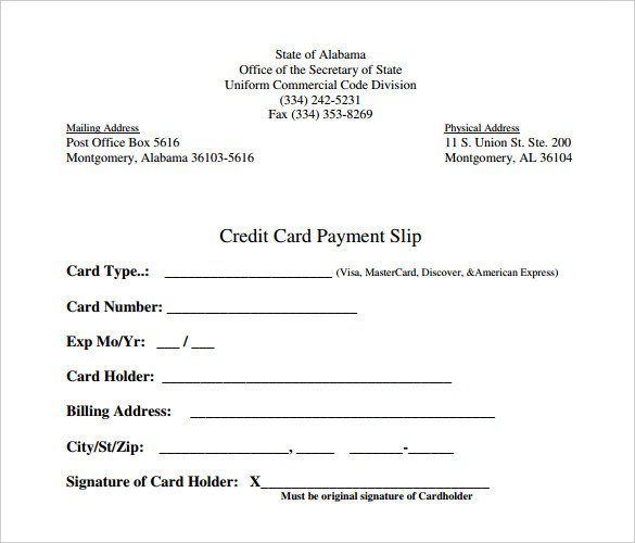 Credit Card Payment form Template Slip Template 14 Free Word Excel Pdf Documents