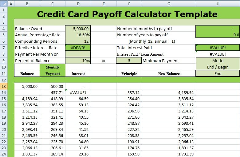 Credit Card Payoff Template Credit Card Payoff Calculator Template Xls