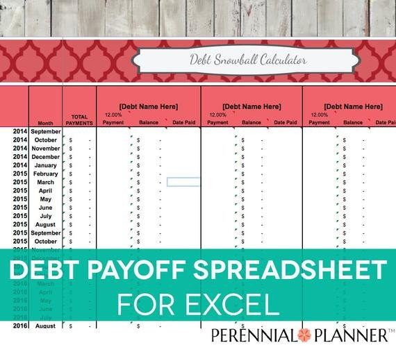Credit Card Payoff Template Debt Payoff Spreadsheet Debt Snowball Excel by