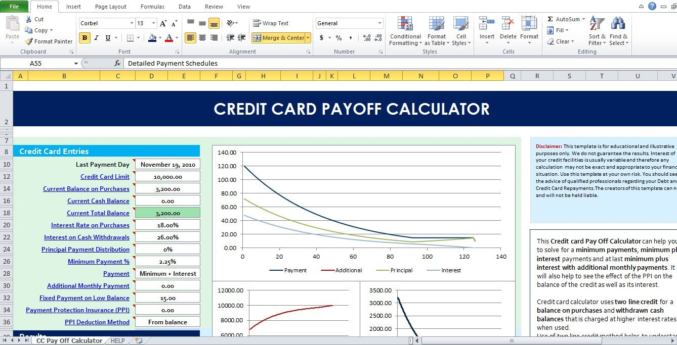 Credit Card Payoff Template Raci Matrix Excel Template Free Excel Tmp