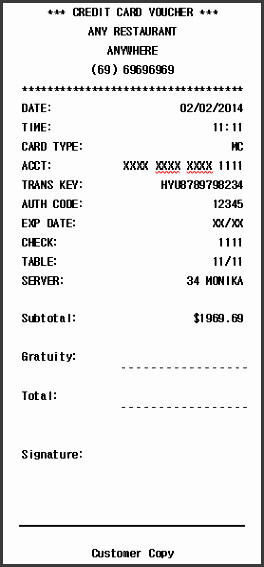 Credit Card Receipt Template 11 Credit Payment Receipt Template Sampletemplatess
