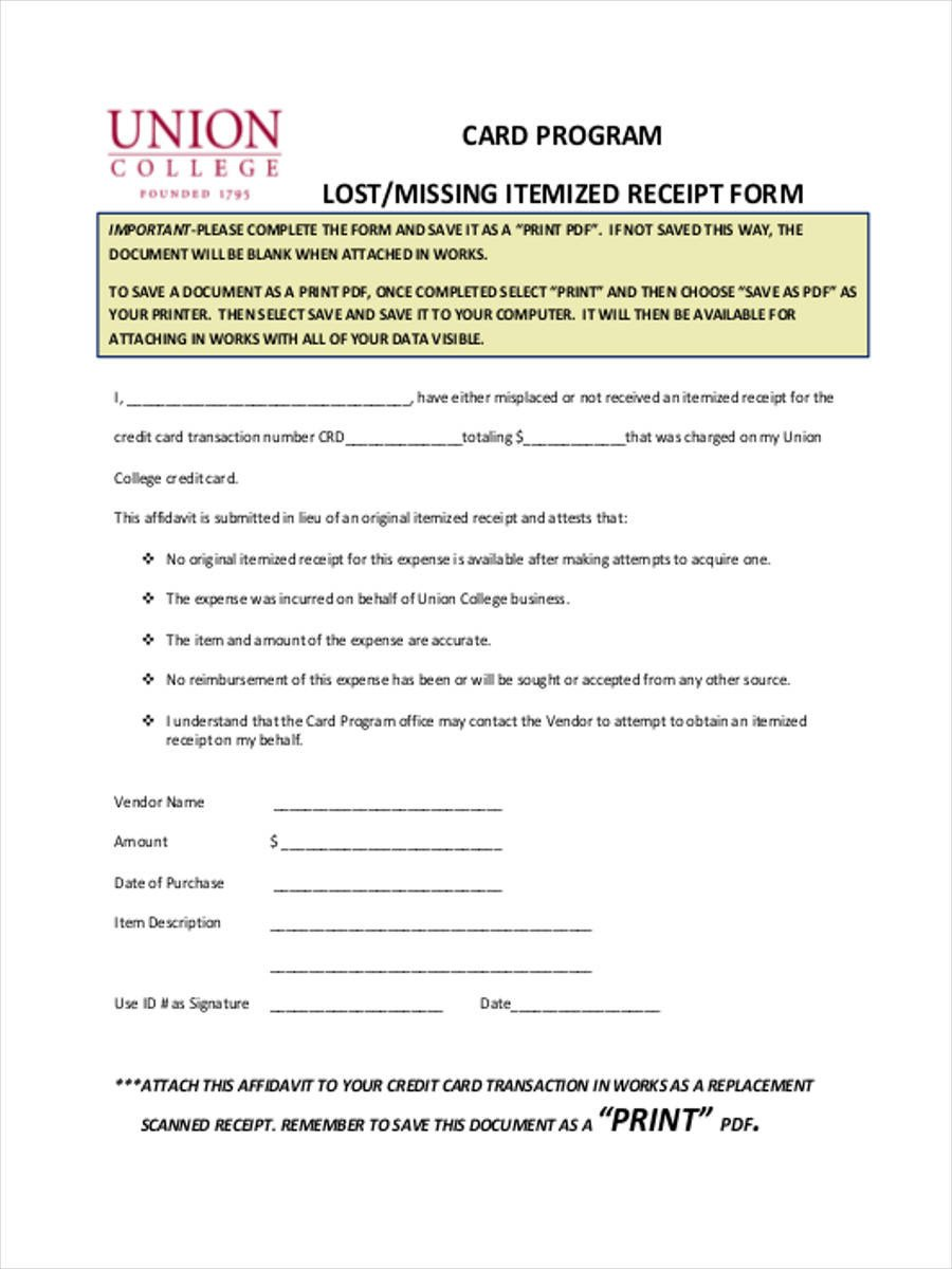 Credit Card Receipt Template Lost Receipt forms 6 Free Documents In Word Pdf