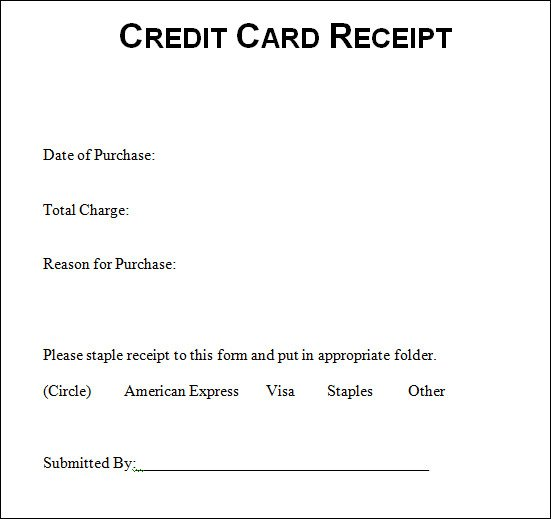Credit Card Receipt Template Sample Credit Card Receipt Credit Card Receipt